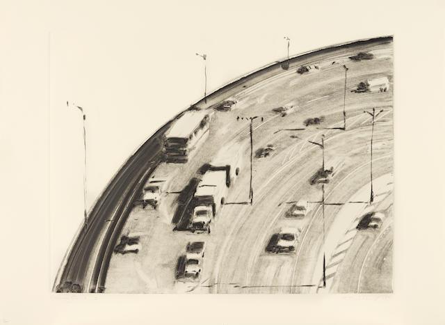 Wayne Thiebaud (born 1920) Freeway Curve 2, 1977 22 1/8 x 30 3/4 in. (56.2 x 78.1 cm)