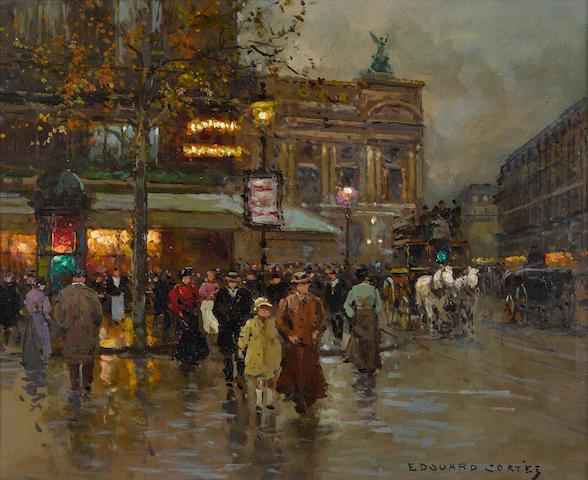 Edouard Henri Leon Cortès (French, 1882-1969) Le Cafe de la Paix 15 x 18 1/4in (38 x 46.5cm)