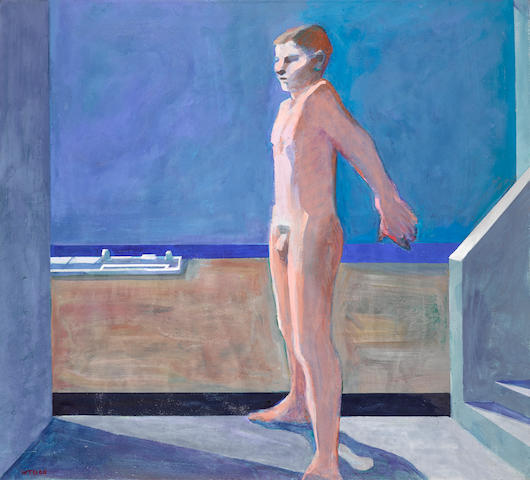 William Theophilus Brown (1919-2012) Boy on Balcony, 1968 39 x 42 1/2 in. (99 x 108 cm)