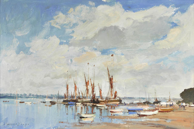 Edward Seago, RWS (British, 1910-1974) Thames barges assembled at Pin Mill 20 x 30in (50.8 x 76.2cm)