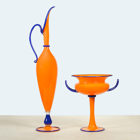 Dante Marioni (born 1964) Orange pairblown glass, signed marioni 95heights 33 1/8in and 14 1/2in (84cm and 37cm)