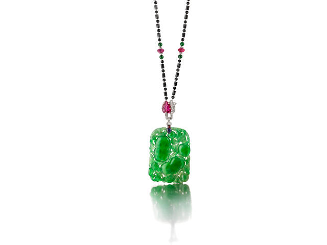 An Art Deco jadeite jade and gem-set pendant necklace, French