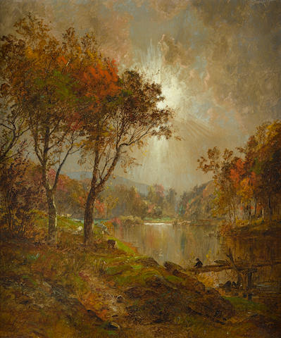 Jasper Francis Cropsey (1823-1900) On the Ramapo River 24 x 20in