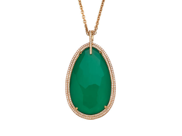 A dyed green onyx doublet, diamond and 14K rose gold pendant on chain, attributed to Suzanne Kalan, Opulent Elegance Collection