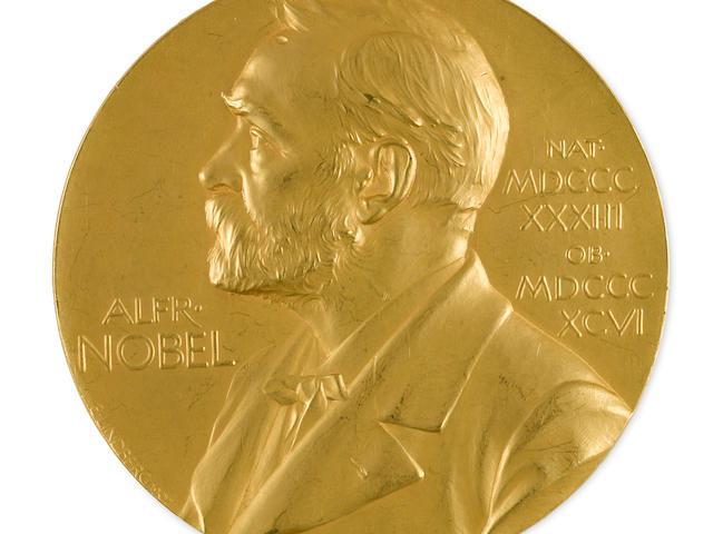"THE DISCOVERY OF COSMIC RAYSHESS, VICTOR FRANZ. 1883-1964.  THE 1936 NOBEL PRIZE MEDAL FOR PHYSICS, PRESENTED TO VICTOR FRANZ HESS FOR HIS DISCOVERY OF COSMIC RADIATION. Nobel medal, in gold, 65.8 mm diameter, 206.2 grams.  Designed by Erik Lundberg and struck by the Kungliga Mynt och Justeringsverkey (Swedish Royal Mint).  Marked on edge ""GULD 1936."""