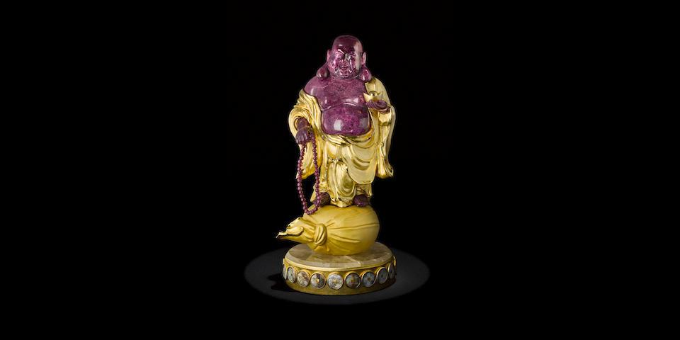 Ruby Carving Depicting Buddha by Luis Alberto Quispe Aparicio