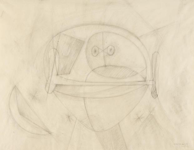 Rufino Tamayo (1899-1991) Hombre y los astros 19 x 24 3/8 in (48.3 x 61.9 cm) (Drawn in 1956)