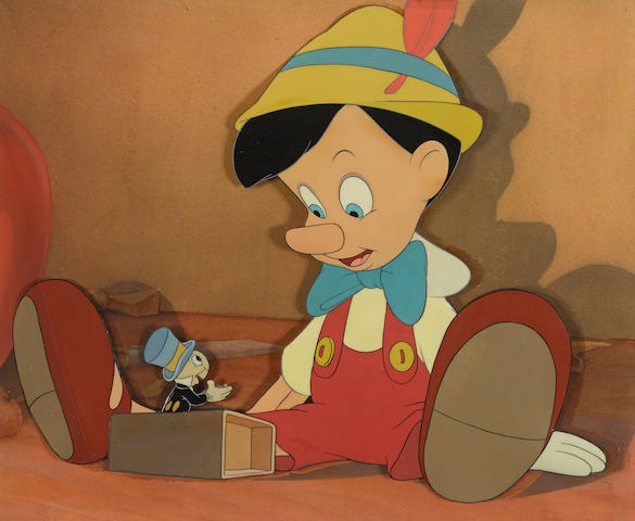 A celluloid of Pinocchio and Jiminy Cricket from Pinocchio
