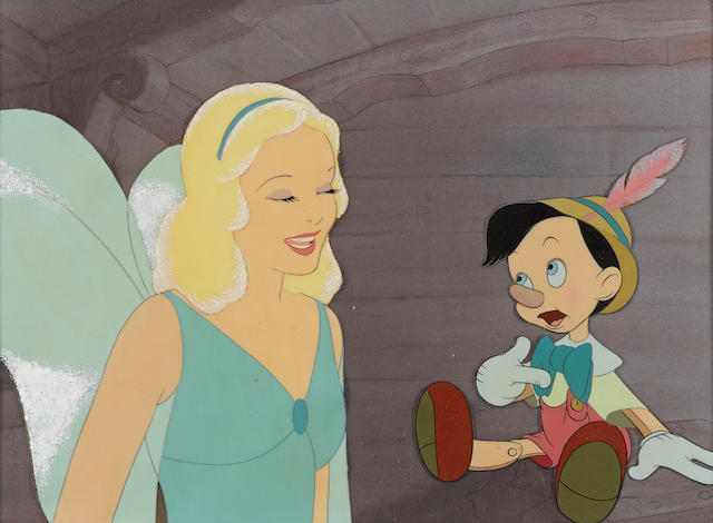 A celluloid of the Blue Fairy and Pinocchio from Pinocchio