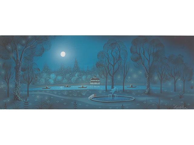 An Eyvind Earle concept painting from Lady and the Tramp