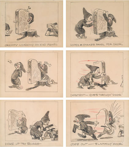 Six sequential storyboard drawings from Snow White and the Seven Dwarfs