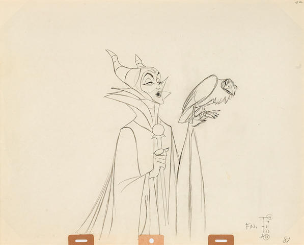 An animation drawing of Maleficent from Sleeping Beauty