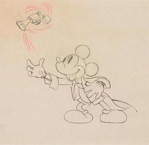 An animation drawing of Mickey Mouse from Magician Mickey
