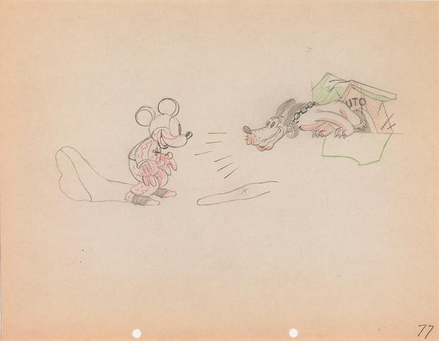 An animation drawing of Mickey Mouse from The Mad Doctor