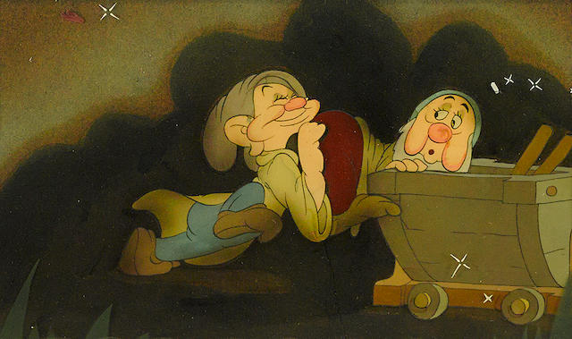 A celluloid of Dopey and Sleepy from Snow White and the Seven Dwarfs