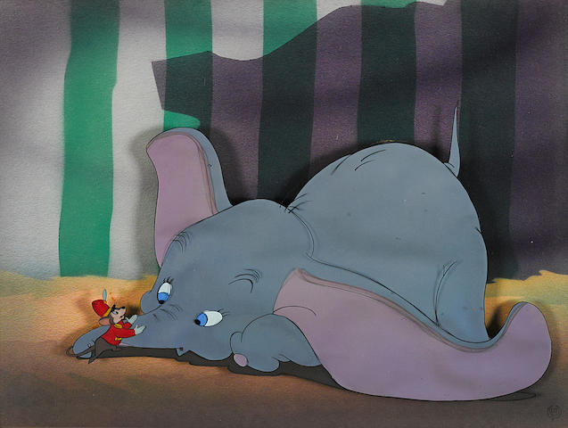A celluloid  of Dumbo and Timothy Mouse from Dumbo
