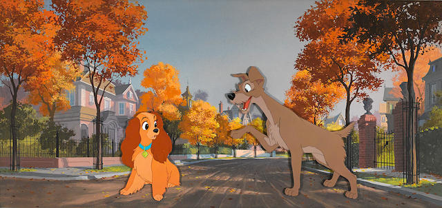 A celluloid of Lady and Tramp from Lady and the Tramp