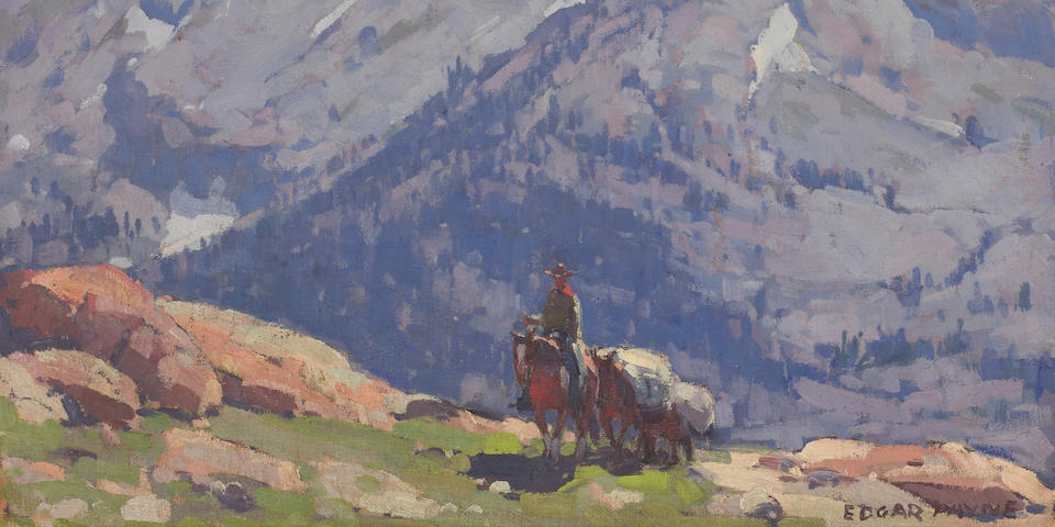 Edgar Payne (1883-1947) A Rider with Packhorses in the Sierras; A Sierra Lake (double-sided) 25 x 30in overall: 32 x 37in