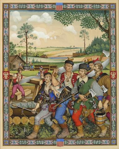"SZYK, ARTHUR. 1894-1951. Original gouache, ""Polish Pioneers Arriving in Jamestown,"""