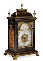 A fine and very rare second quarter of the 18th century ebony quarter chiming, calendar table clock with signed case.   Godfrie Poy, London. The case with signed pierced sound frets for the casemaker John Holl.