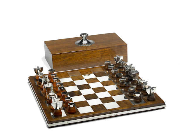 A Kenneth Begay sterling silver and wood chess set