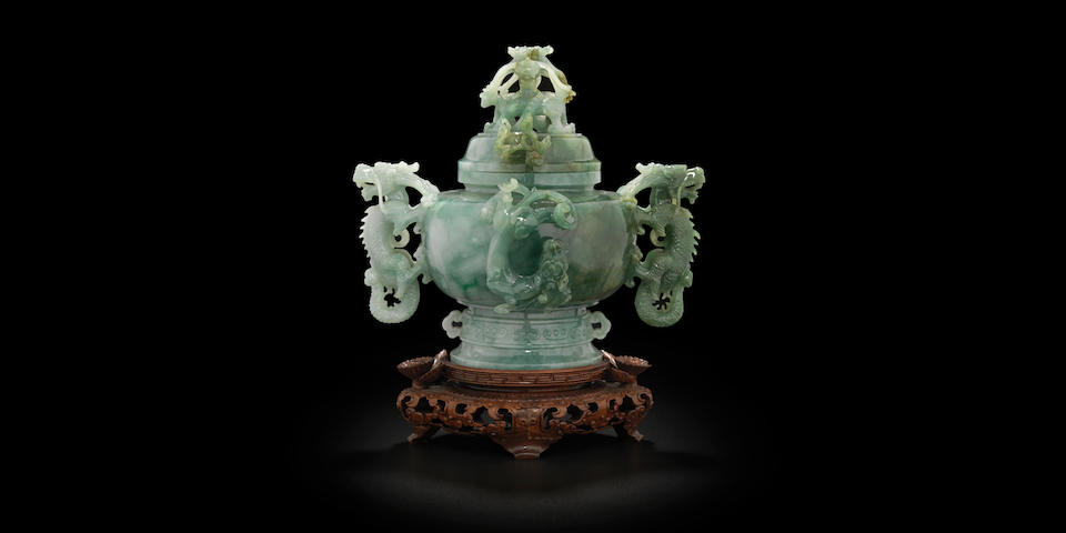 A carved jadeite lidded censer  Republic period