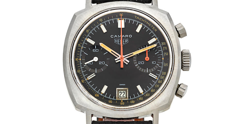 Heuer. A fine stainless steel manual wind chronograph wristwatch with date Camaro 30 Dato, Ref: 73443, Sold August 20 1971