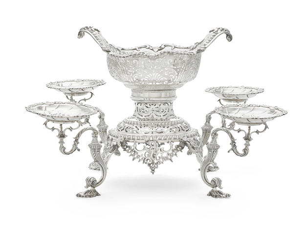 A George II sterling silver five-basket épergne by William Cripps, London, 1757