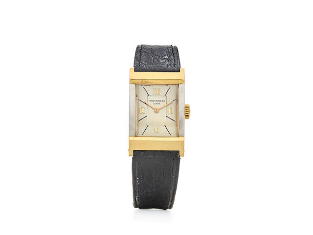 Patek Philippe. A fine and rare 18K gold and platinum Art Deco rectangular wristwatchRef: 513, 1938