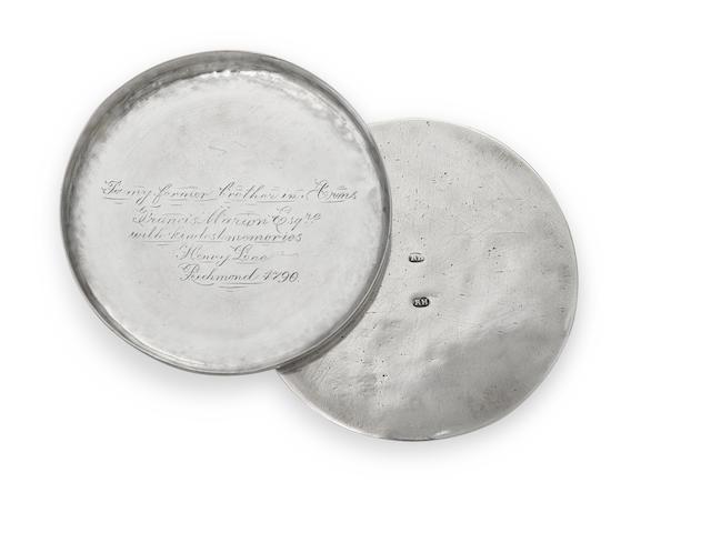 A Federal  silver circular snuff box of Historical Interest by Richard Humphreys, Philadelphia, PA,  circa 1790