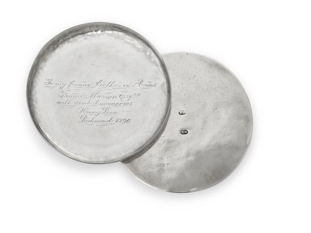 A Federal  silver circular snuff box of Historical Interest by Richard Humphreys, Philadelphia, PA,  circa 1790