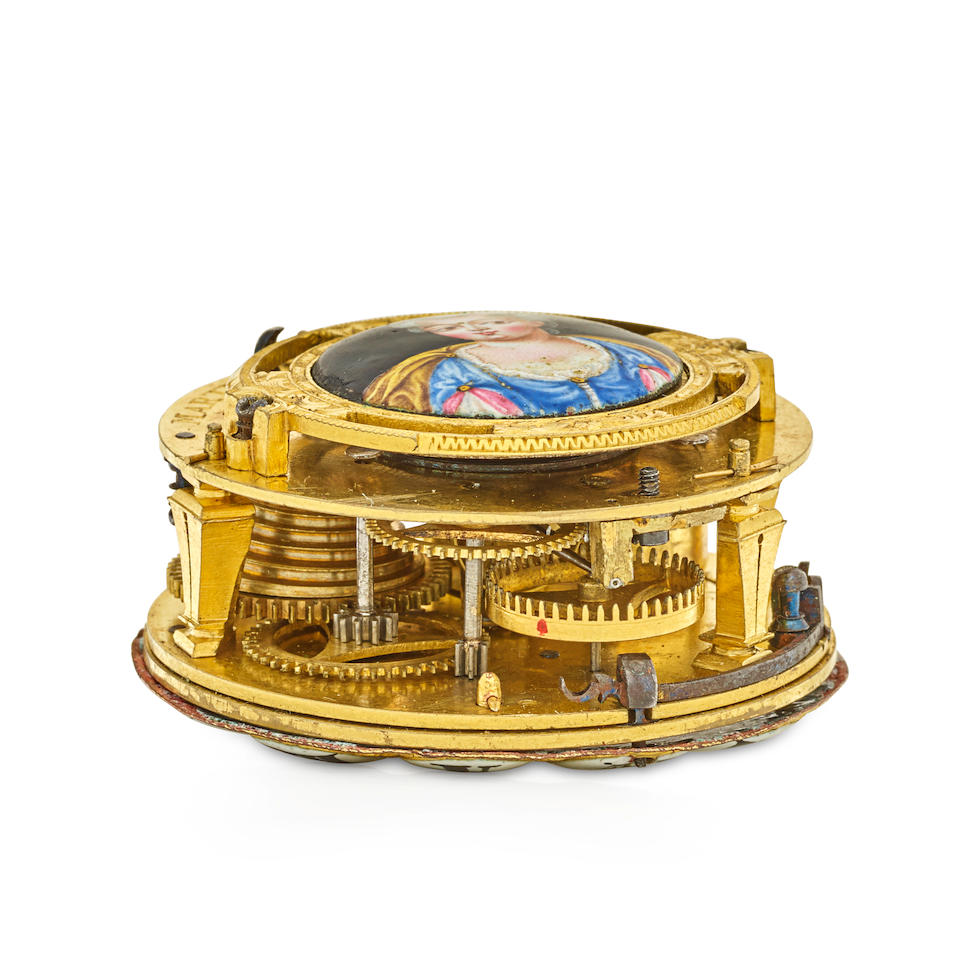 Martinot à Paris. An unusual shagreen and gilt metal oignon watch with mock pendulum and enamel portraitcirca 1695