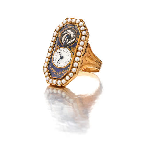 An enameled gold and pearl ring watchSwiss Late 18th / early 19th century, with French import marks of 1819 - 1838