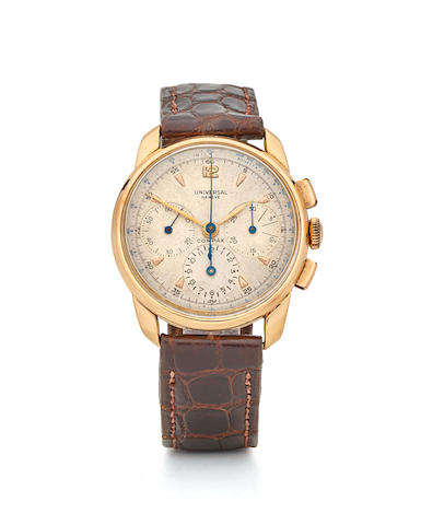 Universal Geneve. An 18K rose gold manual wind chronograph wristwatch Compax, Ref: 12244, Circa 1942