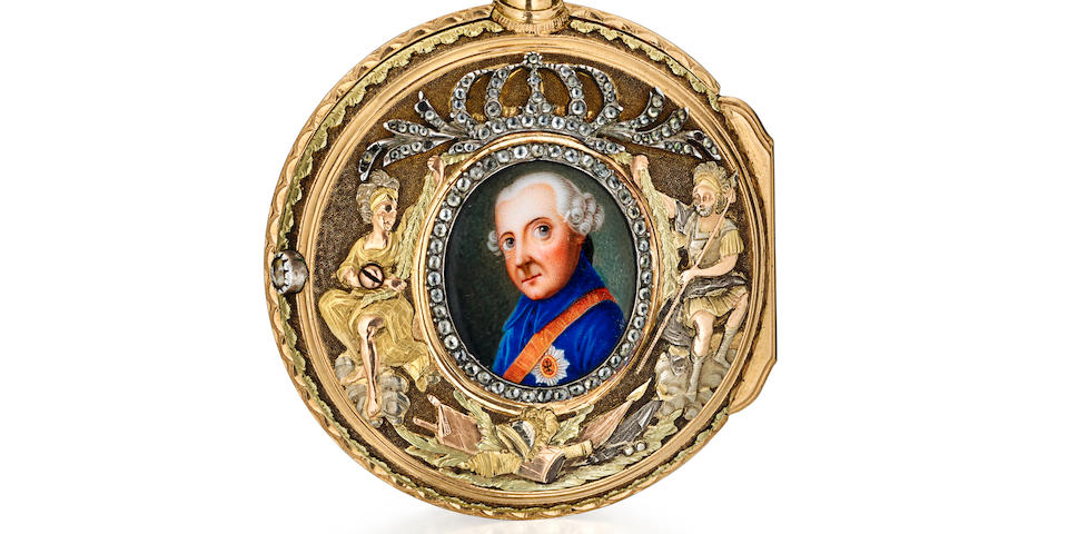 Abraham-David Perret-Wattel à Valingin, [Neuchâtel]. A remarkable vari-colored gold, diamond and enamel verge watch honoring Frederick the Greatcirca 1774