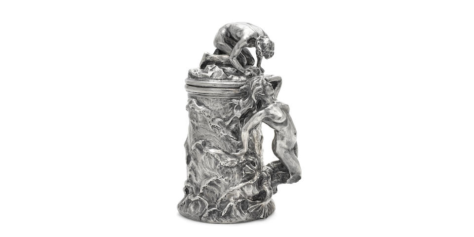 An American  sterling silver  Art Nouveau style figural tankard designed by Enid Yandell, Louisville, KY and New York, NY,  20th century