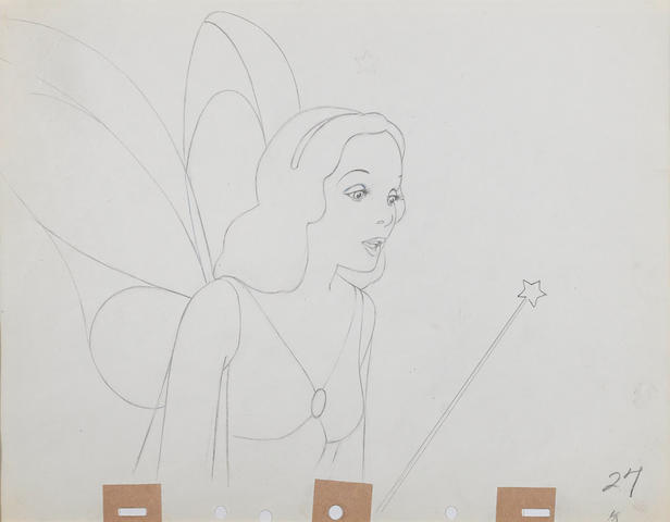 An animation drawing of the Blue Fairy from Pinocchio