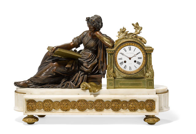 A French gilt and patinated bronze and marble figural mantel clock 19th century