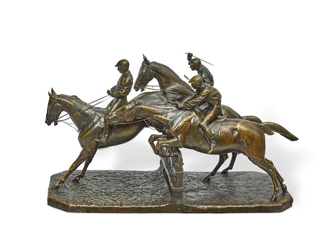 A fine and imposing French patinated bronze equestrian figural group: The Steeplechase Isidore Jules Bonheur (French, 1827-1901) late 19th century
