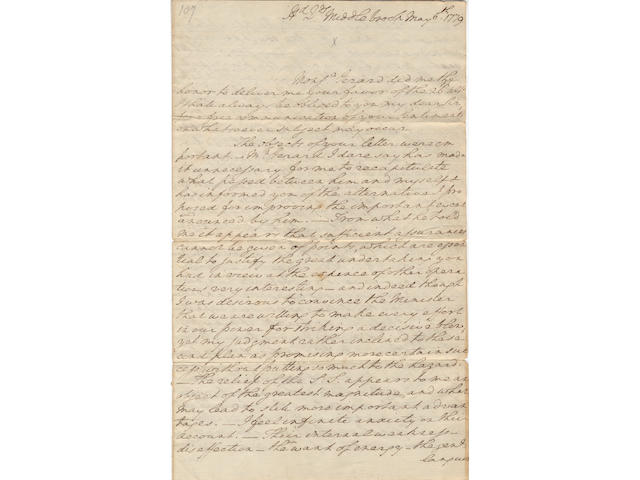"WASHINGTON, GEORGE. 1732-1799.  Autograph Letter Signed (""Go: Washington"")"