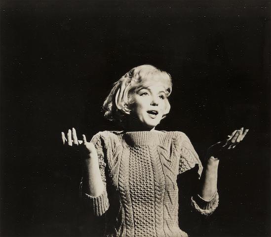 "David Fapp; Marilyn Monroe on the set of ""Let's Make Love"";"