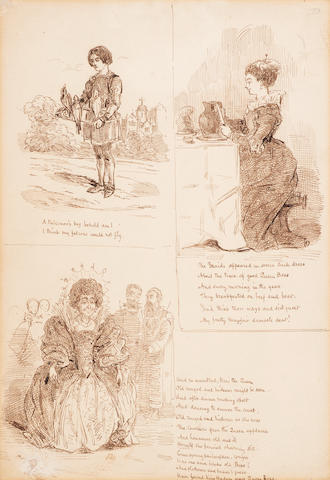 """THACKERAY, WILLIAM MAKEPEACE. 1811-1863. Pen and ink on paper, 7 x 10 ¼ in, 3-panel illustration titled """"Good Queen Bess,"""""""