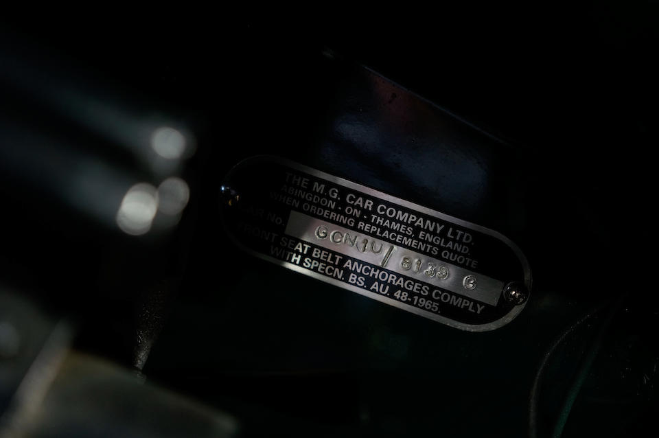 <b>1968 MG C Roadster</b><br />Chassis no. GCN1U/8139G<br />Engine no. 29GA/RU/H358
