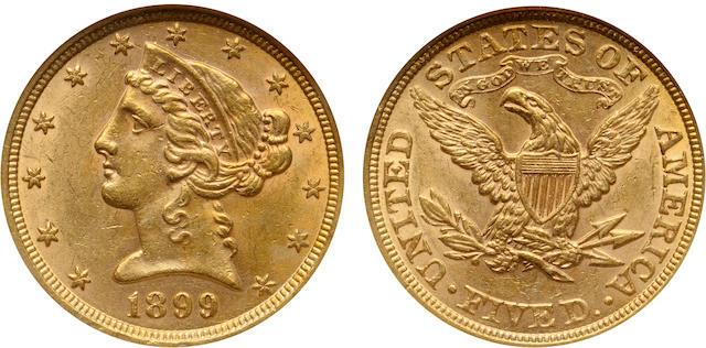 1899 $5 MS61 NGC