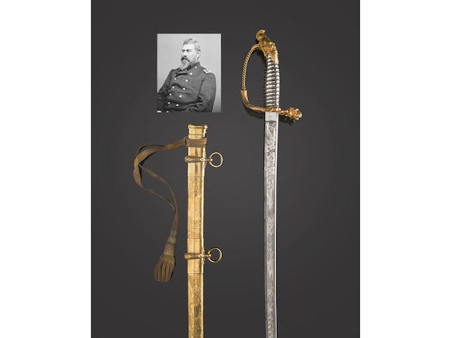 A fine Tiffany presentation sword given to Delos Bennett Sacket, Mexican War Veteran and Inspector General of the Army of the Potomac