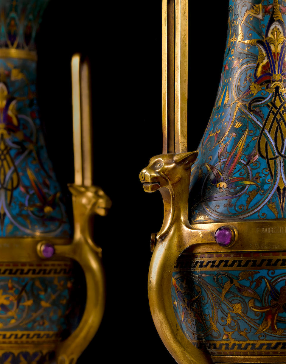 A pair of impressive exhibition quality French gilt bronze and champlevé enamel vases on slate plinths Designed by Louis-Constant Sévin Manufactured by F. Barbedienne, Paris circa 1867