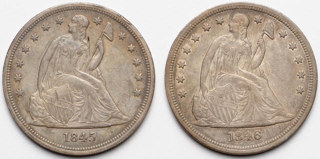 1845 and 1846 $1