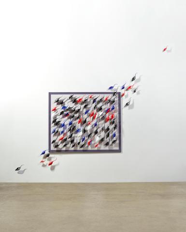 Lino Tagliapietra (born 1934) Esodowall installation, blown glass and metalheight of framed portion 48in (121cm); width 59in (149cm)