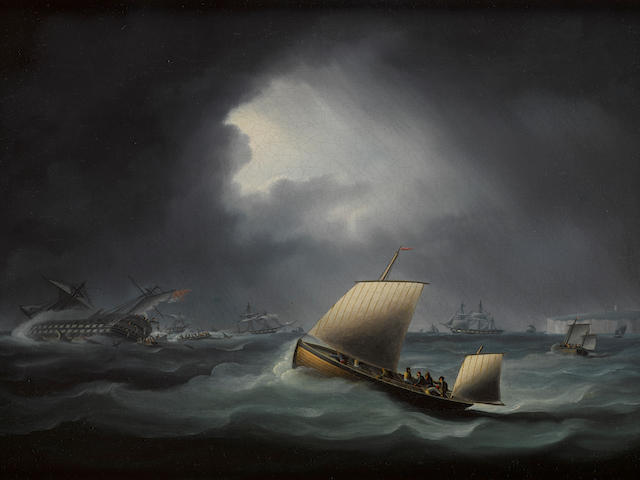 Thomas Buttersworth (British, 1768-1828) An Easterly gale, a lugger in a squall 12 x 16 in.