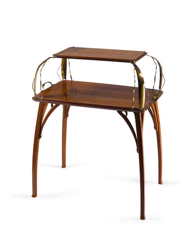 A French Art Nouveau mahogany, marquetry inlaid and brass étagère Attributed to Léon Benouville (1821-1859) circa 1900